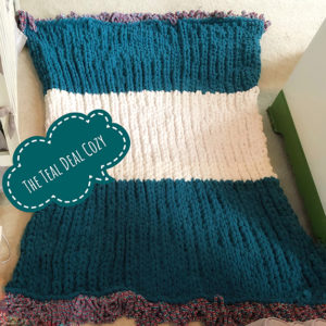 chunky, hand knit throw blanket